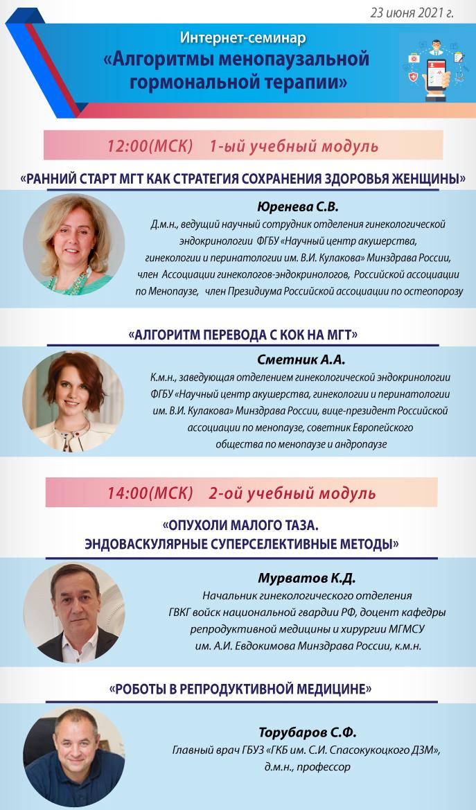 Интернет-семинар «Алгоритмы менопаузальной гормональной терапии»